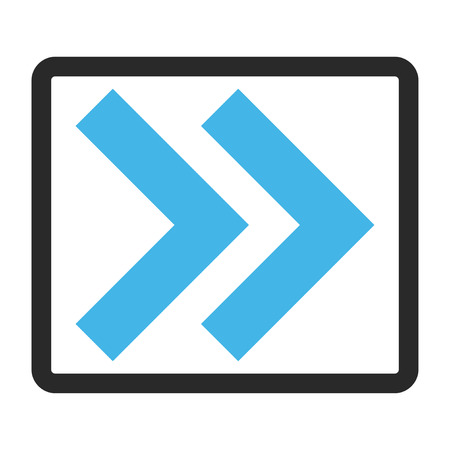 propel: Shift Right vector icon. Image style is a flat bicolor icon symbol inside a rounded rectangular frame, blue and gray colors, white background.