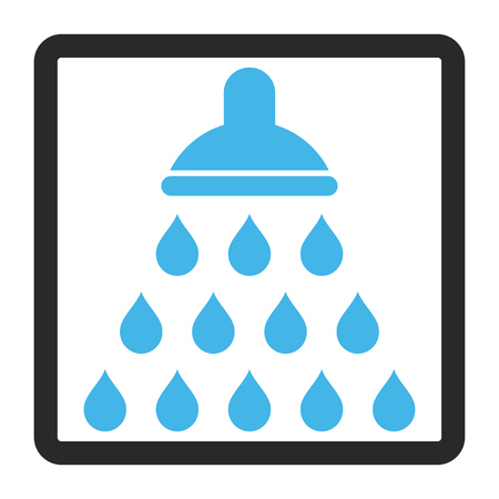 antiseptic: Shower vector icon. Image style is a flat bicolor icon symbol inside a rounded rectangular frame, blue and gray colors, white background.