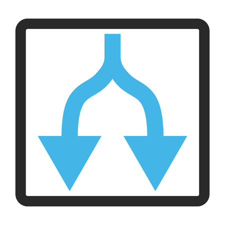 Split Arrows Down vector icon. Image style is a flat bicolor icon symbol in a rounded rectangular frame, blue and gray colors, white background. Illustration