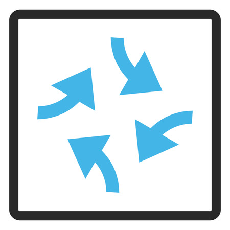 squeeze shape: Swirl Arrows vector icon. Image style is a flat bicolor icon symbol in a rounded rectangle, blue and gray colors, white background.