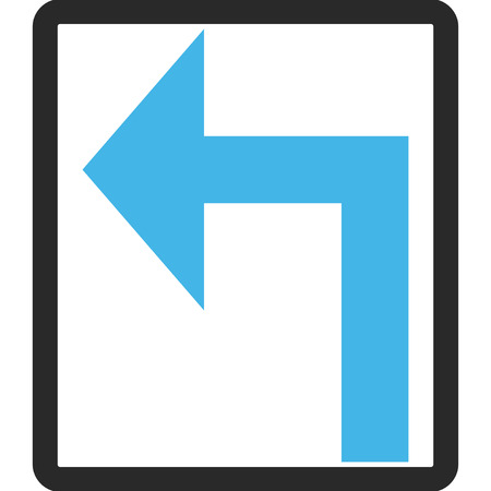 rounded rectangle: Turn Left vector icon. Image style is a flat bicolor icon symbol inside a rounded rectangle, blue and gray colors, white background. Illustration