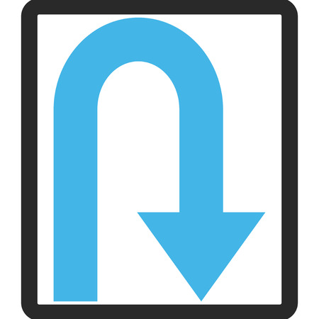 u turn: Turn Back vector icon. Image style is a flat bicolor icon symbol in a rounded rectangle, blue and gray colors, white background.