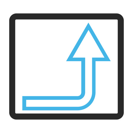 rounded rectangle: Turn Up vector icon. Image style is a flat bicolor icon symbol inside a rounded rectangle, blue and gray colors, white background.