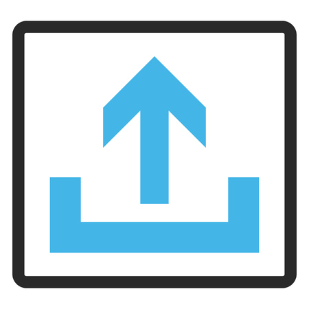 Upload vector icon. Image style is a flat bicolor icon symbol inside a rounded rectangular frame, blue and gray colors, white background.