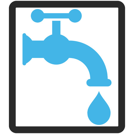 aqueduct: Water Tap vector icon. Image style is a flat bicolor icon symbol inside a rounded rectangle, blue and gray colors, white background.