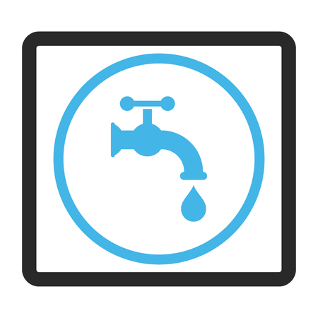 Water Tap vector icon. Image style is a flat bicolor icon symbol inside a rounded rectangle, blue and gray colors, white background.