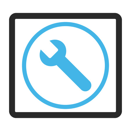 config: Wrench vector icon. Image style is a flat bicolor icon symbol in a rounded rectangle, blue and gray colors, white background.