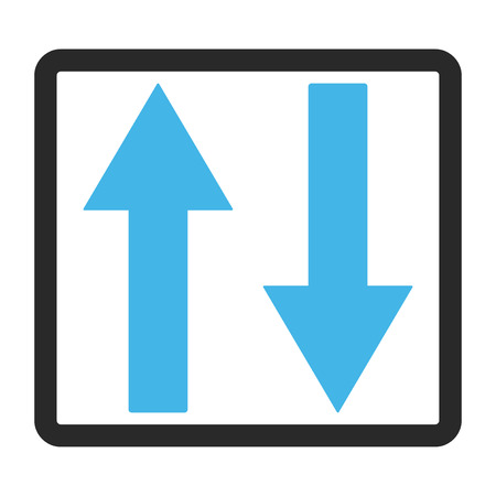 inverse: Vertical Flip Arrows vector icon. Image style is a flat bicolor icon symbol in a rounded rectangle, blue and gray colors, white background. Illustration