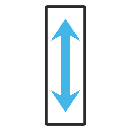 inverse: Vertical Flip vector icon. Image style is a flat bicolor icon symbol inside a rounded rectangular frame, blue and gray colors, white background. Illustration