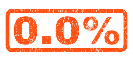0.0 Percent text rubber seal stamp watermark. Caption inside rectangular shape with grunge design and unclean texture. Horizontal vector orange ink sign on a white background.