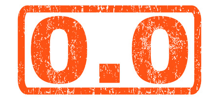 0.0 text rubber seal stamp watermark. Tag inside rectangular banner with grunge design and dirty texture. Horizontal vector orange ink sticker on a white background. Ilustração