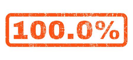 総: 100.0% ゴム シール スタンプ透かし。グランジ デザインの長方形バナー内タグし、テクスチャをほこり。白い背景の上の水平ベクトル オレンジ イン