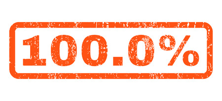 100.0 Percent text rubber seal stamp watermark. Tag inside rectangular banner with grunge design and dust texture. Horizontal vector orange ink sticker on a white background.
