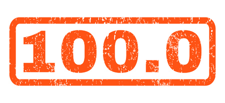 100.0 text rubber seal stamp watermark. Tag inside rectangular banner with grunge design and scratched texture. Horizontal vector orange ink sticker on a white background.