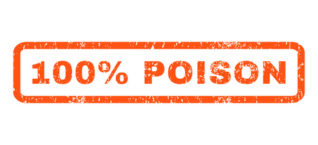 poison sign: 100 Percent Poison text rubber seal stamp watermark. Caption inside rectangular shape with grunge design and dirty texture. Horizontal vector orange ink sign on a white background.