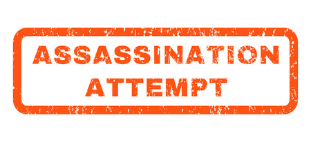 Assassination Attempt text rubber seal stamp watermark. Tag inside rectangular shape with grunge design and dirty texture. Horizontal vector orange ink sticker on a white background.
