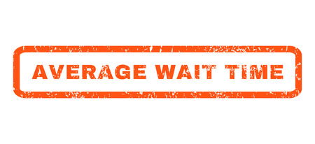 wait: Average Wait Time text rubber seal stamp watermark. Caption inside rectangular banner with grunge design and unclean texture. Horizontal vector orange ink sticker on a white background.