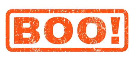 Boo text rubber seal stamp watermark. Caption inside rectangular shape with grunge design and dust texture. Horizontal vector orange ink sticker on a white background.
