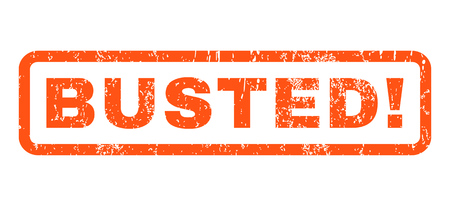 busted: Busted text rubber seal stamp watermark. Caption inside rectangular shape with grunge design and dirty texture. Horizontal vector orange ink sticker on a white background.