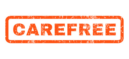 carefree: Carefree text rubber seal stamp watermark. Caption inside rectangular shape with grunge design and dust texture. Horizontal vector orange ink emblem on a white background.