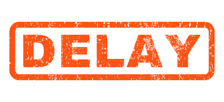Delay text rubber seal stamp watermark. Caption inside rectangular shape with grunge design and dust texture. Horizontal vector orange ink sign on a white background.