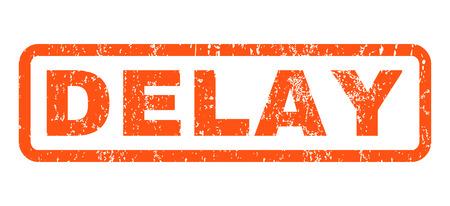Verzögerung Text Gummidichtung Stempel Wasserzeichen. Beschriftung in rechteckiger Form mit Grunge-Design und Staub Textur. Horizontale Vektor Orange Tinte Zeichen auf einem weißen Hintergrund.