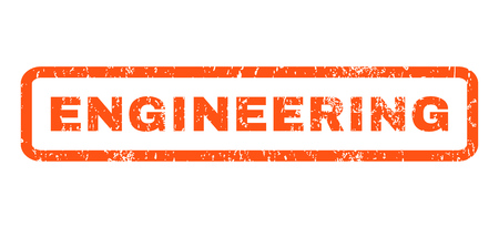 Engineering text rubber seal stamp watermark. Caption inside rectangular shape with grunge design and scratched texture. Horizontal vector orange ink sign on a white background.