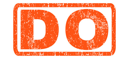 Do text rubber seal stamp watermark. Tag inside rectangular banner with grunge design and dust texture. Horizontal vector orange ink sticker on a white background.