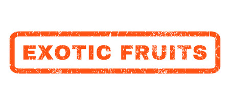 exotic fruits: Exotic Fruits text rubber seal stamp watermark. Tag inside rectangular shape with grunge design and unclean texture. Horizontal vector orange ink sign on a white background. Illustration