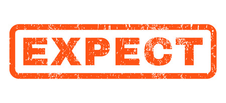 expect: Expect text rubber seal stamp watermark. Caption inside rectangular banner with grunge design and dust texture. Horizontal vector orange ink sign on a white background.
