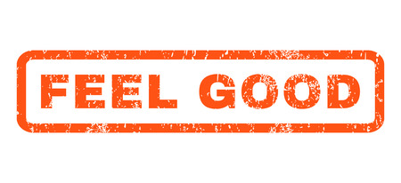 feel good: Feel Good text rubber seal stamp watermark. Tag inside rectangular banner with grunge design and dust texture. Horizontal vector orange ink emblem on a white background.