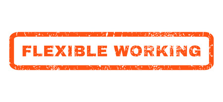 Flexible Working text rubber seal stamp watermark. Tag inside rectangular shape with grunge design and dirty texture. Horizontal vector orange ink emblem on a white background.