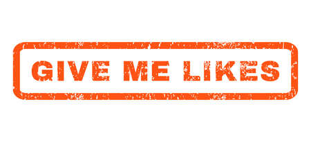 likes: Give Me Likes text rubber seal stamp watermark. Caption inside rectangular banner with grunge design and dust texture. Horizontal vector orange ink sign on a white background.