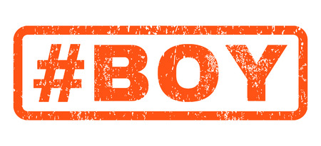 Hashtag Boy text rubber seal stamp watermark. Tag inside rectangular banner with grunge design and unclean texture. Horizontal vector orange ink sticker on a white background.
