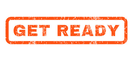 get ready: Get Ready text rubber seal stamp watermark. Tag inside rectangular shape with grunge design and dust texture. Horizontal vector orange ink emblem on a white background.