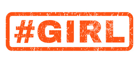 dirty girl: Hashtag Girl text rubber seal stamp watermark. Tag inside rectangular banner with grunge design and dirty texture. Horizontal vector orange ink sticker on a white background.