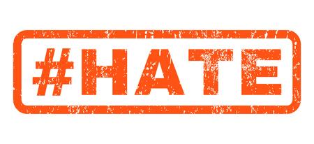 Hashtag texto odio marca de agua sello de junta de goma. En etiqueta forma rectangular con diseño de grunge y textura rayado. Horizontal pegatina de tinta vector naranja sobre un fondo blanco. Ilustración de vector
