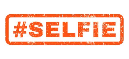 Hashtag Selfie texto goma sello sello marca de agua. Etiqueta dentro de forma rectangular con diseño grunge y textura sucia. Emblema de tinta naranja vector horizontal sobre un fondo blanco. Ilustración de vector