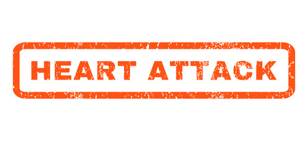 chest pain: Heart Attack text rubber seal stamp watermark. Caption inside rectangular banner with grunge design and unclean texture. Horizontal vector orange ink emblem on a white background.