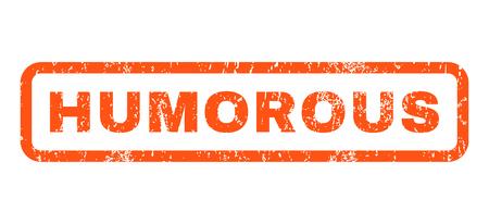 Humorística de caucho sello de marca de agua de texto sello. En etiqueta forma rectangular con diseño de grunge y textura sucia. Horizontal signo tinta vector naranja sobre un fondo blanco.