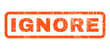 ignore: Ignore text rubber seal stamp watermark. Caption inside rectangular banner with grunge design and scratched texture. Horizontal vector orange ink emblem on a white background.