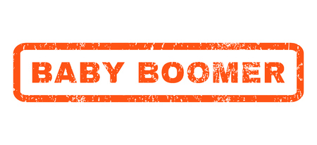 baby boomer: Baby Boomer text rubber seal stamp watermark. Caption inside rectangular shape with grunge design and dirty texture. Horizontal glyph orange ink sticker on a white background.
