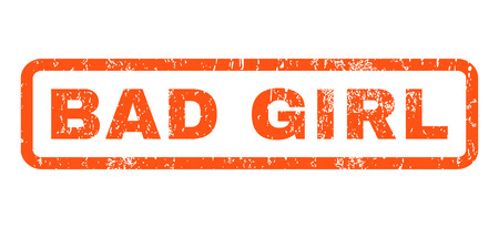 dirty girl: Bad Girl text rubber seal stamp watermark. Caption inside rectangular banner with grunge design and dirty texture. Horizontal glyph orange ink sticker on a white background. Stock Photo