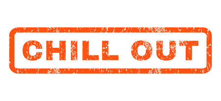 chill out: Chill Out text rubber seal stamp watermark. Tag inside rectangular shape with grunge design and unclean texture. Horizontal glyph orange ink sign on a white background.