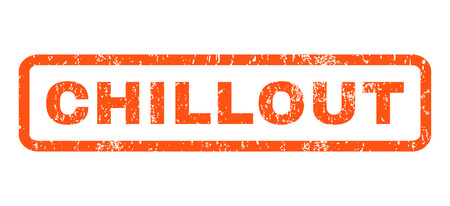 chillout: Chillout text rubber seal stamp watermark. Caption inside rectangular banner with grunge design and dust texture. Horizontal glyph orange ink sign on a white background.