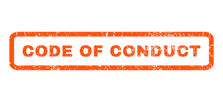 conduct: Code Of Conduct text rubber seal stamp watermark. Tag inside rectangular banner with grunge design and dirty texture. Horizontal glyph orange ink emblem on a white background.