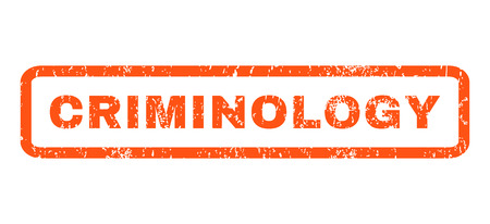 Criminology text rubber seal stamp watermark. Tag inside rectangular shape with grunge design and dust texture. Horizontal glyph orange ink emblem on a white background.