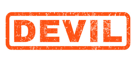 Devil text rubber seal stamp watermark. Caption inside rectangular shape with grunge design and unclean texture. Horizontal glyph orange ink sign on a white background.