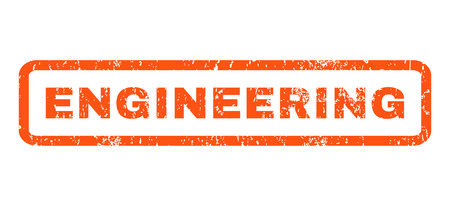 systematization: Engineering text rubber seal stamp watermark. Tag inside rectangular banner with grunge design and dust texture. Horizontal glyph orange ink emblem on a white background.