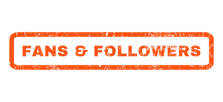 followers: Fans Followers text rubber seal stamp watermark. Caption inside rectangular shape with grunge design and scratched texture. Horizontal glyph orange ink emblem on a white background.